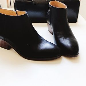 Jcrew leather black ankle boots 6.5